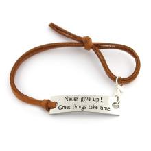 Joyas con estilo de cuero marrón cuerda de algodón personalizable pulsera expansible