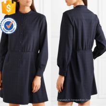 Imprimé à manches longues bleu marine et blanc Mini robe d'été Fabrication en gros de mode femmes vêtements (TA0291D)