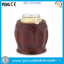 Classical Roman Red Candle Jars Ceramic Candle Warmer