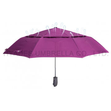 Double Layered Windproof Auto Buka dan Tutup Folding Umbrella