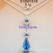 Silver Cubic Zirconia Necklace Jewelry (51SW1518)