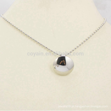Polido prata rodada de aço inoxidável pingente colar de corrente jóias