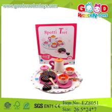 Juego de té de madera juguetes juguetes del juego del juego del té juguetes del juego del juego del té para los niños