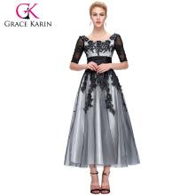 Grace Karin Hot Sell schwarze Spitze Mutter der Braut Kleider mit Ärmeln CL6051-1