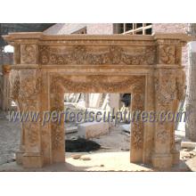 Mantel de mármol de la chimenea para la chimenea de piedra (QY-LS224)