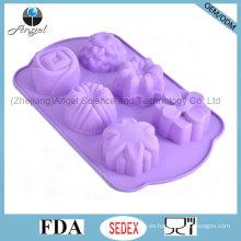 6 flores herramienta de hornear molde de torta de silicona para vacaciones de Navidad Sc49