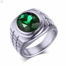 Best Selling Bulk Stainless Steel Single Green Stone Rings For Women