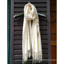 Hand Embroidered Scarf Silk