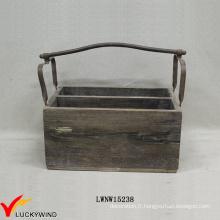 Vintage Cottage Recycle Wood Crate Basket with Metal Handle