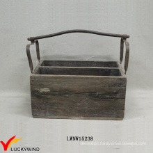 Vintage Cottage Recycle Wood Crate Basket with Metal Handle