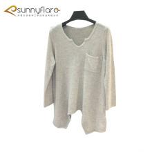Diseño de vestido de suéter de cachemir puro fino largo de las mujeres