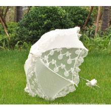 Artesanías artesanales de tela de encaje paraguas blanco paraguas boda Parasol blanco nupcial