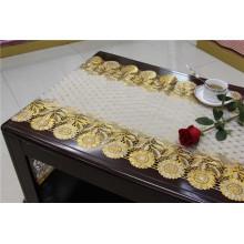 Corredor longo da toalha de mesa do vinil do PVC do ouro do laço da largura de 50cm