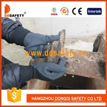Schwarzer hoher elastischer Polyester-Schwarz-Latex-Schaum-doppelte Handschuhe Dnl929