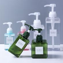 Luxury Clear Green Pink Square Empty 250ml 650ml Cosmetic Lotion Pump Bottle Plastic PETG Shampoo Liquid Soap Bottles