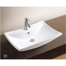 Lavabo de cerámica de las porcelana con los accesorios del cuarto de baño (W7146)
