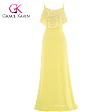 Grace Karin Yellow Occident Women's Summer Spaghetti Straps Long Beach Dress Maxi Dress CL008933-2