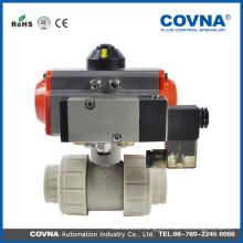 industrial PP material pneumatic two way ball valve pneumatic control ball valve