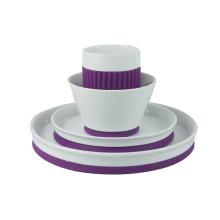 комплект обедающего фарфора с силиконовая, набор из 4