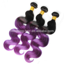 Ombre bündelt Haar spinnt Körperwelle ombre Farbhaare schwarz zu Violett lila Verwicklung frei keine Schuppen Haare weben