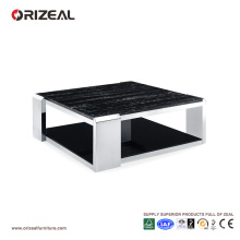 Table basse carrée de verre de texture de marbre d'Orizeal (OZ-OTB016)
