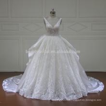 XF16096 sexy deep v neckline gothic western lace wedding ball gown dress