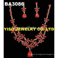 Conjunto de jóias de casamento de cristal vermelho