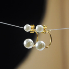 Double White Pearl Earrings Stud Online