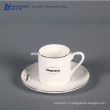White Custom Logo Bone China Colonne Fine Coupe cadeau en céramique et soucoupe