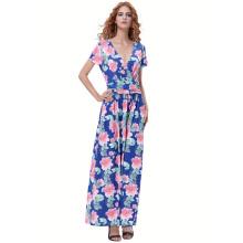 Kate Kasin Womens Elegant Summer Floral Pattern Short Sleeve V-Neck Maxi Dress KK000686-1