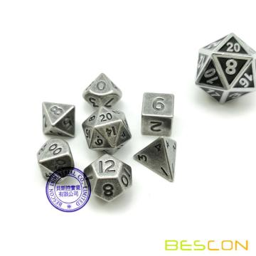 Bescon 10MM Mini jeu de dés en métal solide Old Nickle, ancien Mini Metallic Polyédrique D & D RPG Miniature Dés 7 sets