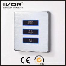 Material de la aleación de aluminio del panel táctil del interruptor de la iluminación de 3 cuadrillas (AD-ST1000L3)