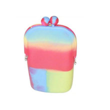 Blended Color Silicone Coin Purse Silicone Pouch Wallet Purse Cover Card Holder Cellphone