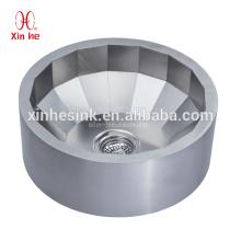 Lavabo redondo de latón chapado en plata / acero inoxidable 304, lavabo