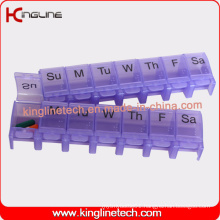 Plastic Push Button Lockable Pill Box with 7-Cases (KL-9039)