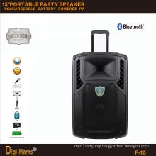 15′′ Mobile Party DJ Dancing Karaoke Trolley Bluetooth Active Speaker
