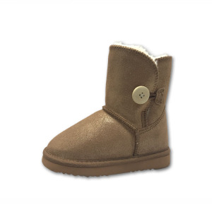 Fashion Girls Winter Fur Lined Gold Boots Kids
