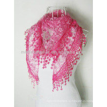 2014 Женская мода 100% хлопок Voile шарф шаль с вышивкой кружево кисточкой