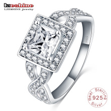 Coeurs et flèche Zircon 925 Sterling Silver Ring (SRI0007-B)