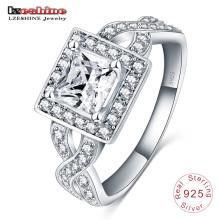 Сердца и стрелы циркон 925 твердых стерлингового серебра кольцо (SRI0007-Б)