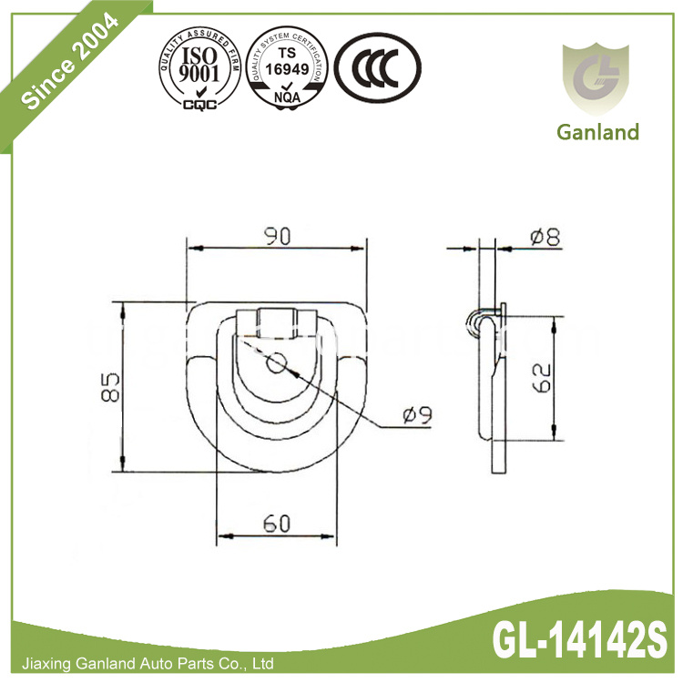 Steel Bolt on D Ring GL-14142S