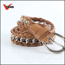 Hot Sale Brown with Chain Women's Braided Belts