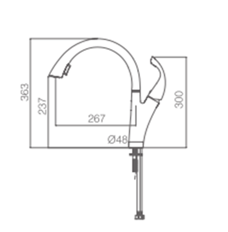 Single Hole Pull Down Kitchen Faucet
