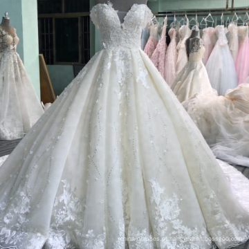 Projeto novo luxuoso fora do vestido nupcial Vestidos feitos-à-medida Novias 2018 do ombro