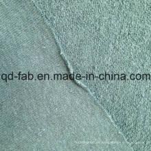 Tejido de terciopelo de algodón / cáñamo - Green-by The Yard (QF14-1467)