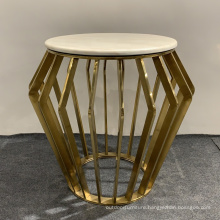 Practical design indoor stainless steel coffee table and side table with glass and marble top