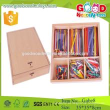 Los juguetes de madera de los palillos de madera del precio barato de la alta calidad GABE 8 juguetes educativos del gabe del regalo del froebel