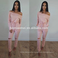Pure Color Bodycon Sexy Sweat Traje de cintura alta Off Shoulder Women Casual Jumpsuits