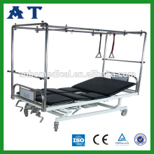 Four cranks manual lumbar traction bed