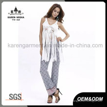 Ladies Fashion Fringe Hem Lace Sexy Crochet Tops